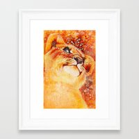 simba Framed Art Prints featuring Sunnyside Simba by Nicole Marie Walker