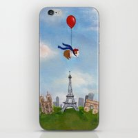 guinea pig iPhone & iPod Skins featuring Guinea Pig Over Paris by When Guinea Pigs Fly