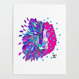 Wolf with Feathers Spirit Animal Pop Art Print Bold Poster