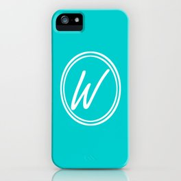 Monogram - Letter W on Cyan Background iPhone Case