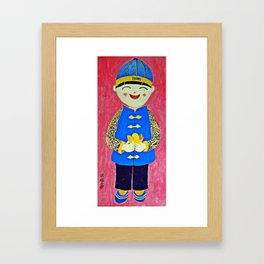 Chinese Boy With Gold Ingots Framed Art Print