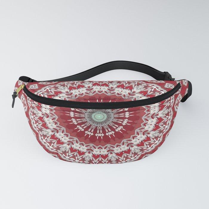 Red White Bohemian Mandala Design Fanny Pack