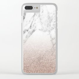 Marble sparkle rose gold Clear iPhone Case