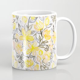 Sunny Yellow Crayon Striped Summer Floral Coffee Mug
