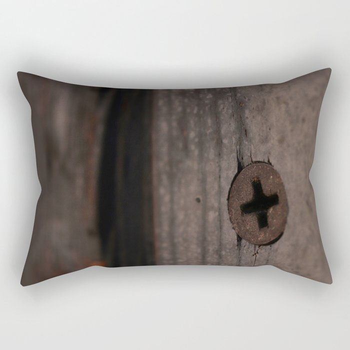Rust Screw in Weathered Painted Door Rectangular Pillow