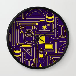 Art Supplies - Eggplant and Yellow Wall Clock
