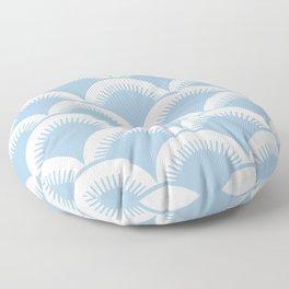 Japanese Fan Pattern Pale Blue Floor Pillow
