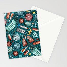 virus cartoon seamless patt color  Stationery Cards
