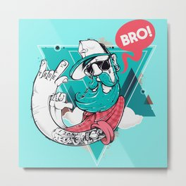 Hipster Bro! Cool Dude with Beard Metal Print