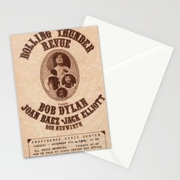 Very Rare Vintage 1975 Bob Dylan and Rolling Thunder Review Flyer - Poster Providence, Rhode Island Stationery Cards