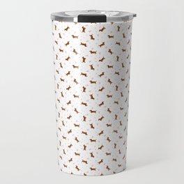 Dachshund Pattern - White Travel Mug