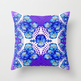 Blue-White Lace with  Purple Pansies Geometric Abstract Throw Pillow