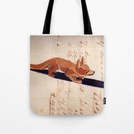Vintage Wood Carved Fox in Gouache Tote Bag
