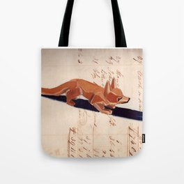 Vintage Wood Carved Fox in Gouache Tote Bag