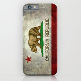 Californian flag the Bear flag in retro grunge iPhone Case