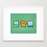 beemo Framed Art Prints featuring 8-Bit Jake Finn & Beemo by geraldbrio