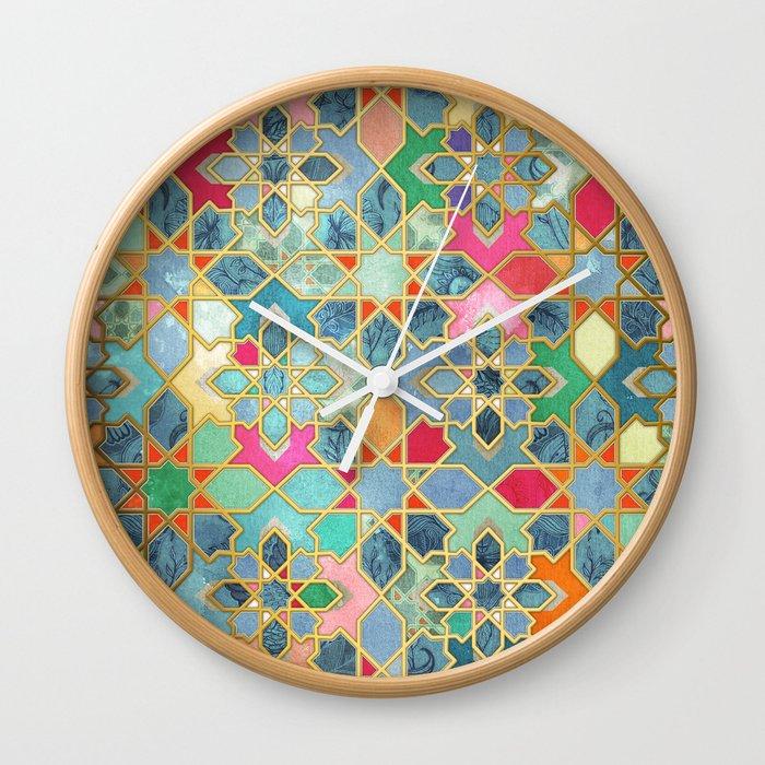 Gilt & Glory - Colorful Moroccan Mosaic Wall Clock