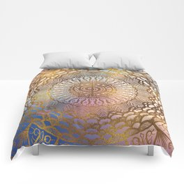 Gentle Pastel and Gold  Choku Rei Symbol in Mandala Comforters