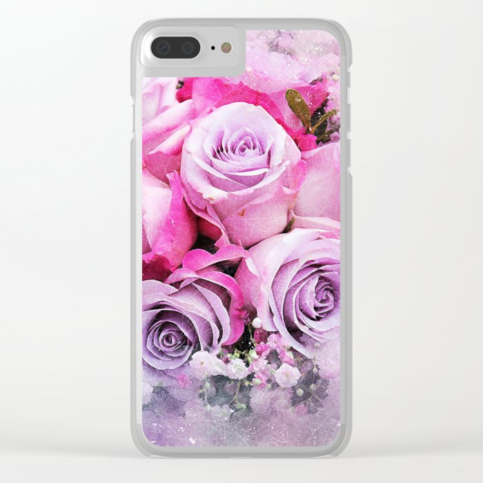 Bouquet of Pink Roses Clear iPhone Case