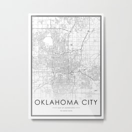 Oklahoma City Map United States White and Black Art Print Metal Print