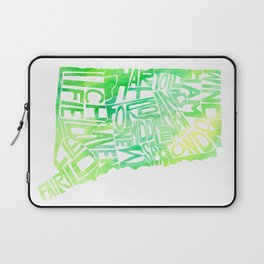 Typographic Connecticut - green watercolor map Laptop Sleeve