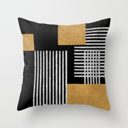 Stripes and Squares on Black Composition - Abstract Throw Pillow