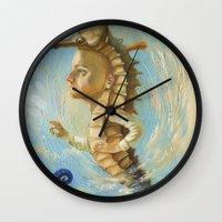 sea horse Wall Clocks featuring Sea horse by Nataliya Derevyanko
