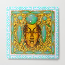 TURQUOISE ART DECO & FIRE OPALS GOLD BUDDHA ABSTRACT Metal Print