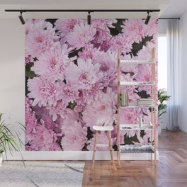 A Sea of Light Pink Chrysanthemums #1 #floral #art #Society6 Wall Mural