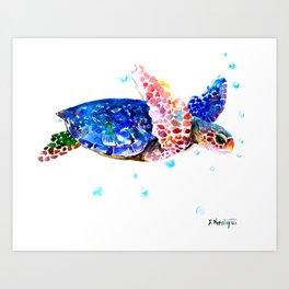 Sea Turtle, blue rainbow Art Print