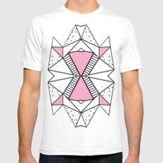 Abstract Spots and Stripes Pink Mens Fitted Tee White SMALL