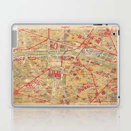 Paris City Centre Map - Vintage Full Color Laptop & iPad Skin