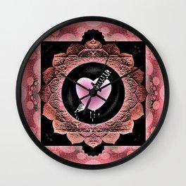 Love Hurts Broken Heart Healing Rose Boho Mandala Wall Clock
