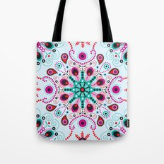 Pointillism mandala | Light blue, red and purple Tote Bag