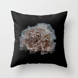 White carnation on a black background Throw Pillow