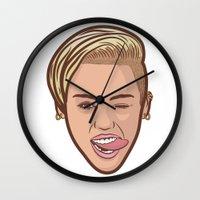 miley cyrus Wall Clocks featuring Miley Cyrus by Michael Walchalk