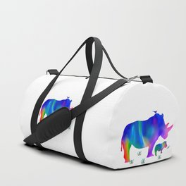 Rainbow Rhino mom and baby Duffle Bag