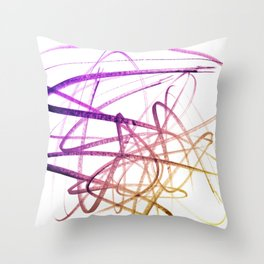 Violet Mulberry Goldenrod Tangled Abstract Throw Pillow