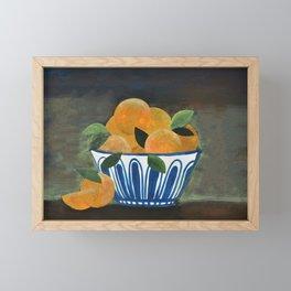 Still Life Oranges in Blue Bowl Framed Mini Art Print