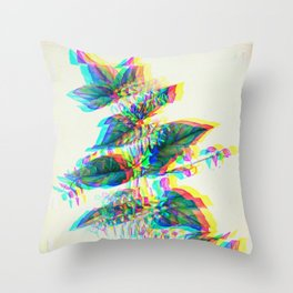 Botanical Flower Glitch III Throw Pillow