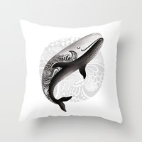 the whale Throw Pillows featuring Whale by Margarita Kukhtina