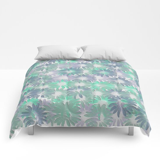 Painterly Embossed Floral Absract Comforters
