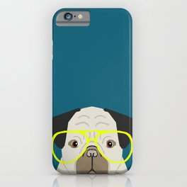 Emerson - Pug with neon Hipster Glasses, Cute Retro Dog, Dog, Husky with Glasses, Funny Dog iPhone Case