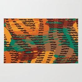 Abstract orange jade brown safari geometrical print Rug