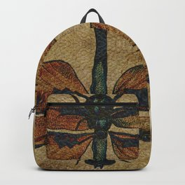 Dragonfly Mirrored on Leather Backpack