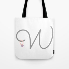 W Initial with Stitch Marker Tote Bag