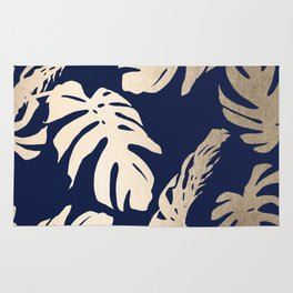 Simply Palm Leaves in White Gold Sands on Nautical Navy Rug