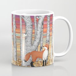 nuthatches and fox in the birch forest Coffee Mug