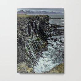 Waves hitting basalt cliffs of Iceland Metal Print