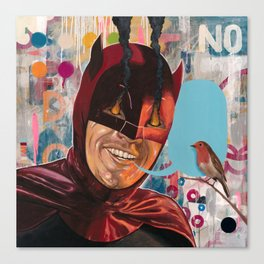 Caped Crusader by Famous When Dead Canvas Print